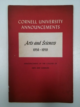 ARTS AND SCIENCES COLLEGE, CORNELL UNIVERSITY 1958-1959 (USADO)