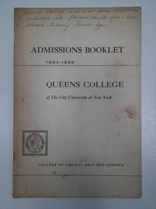 ADMISSIONS BOOKLET, QUEENS COLLEGE 1964/1965 (INGLÉS) (USADO)