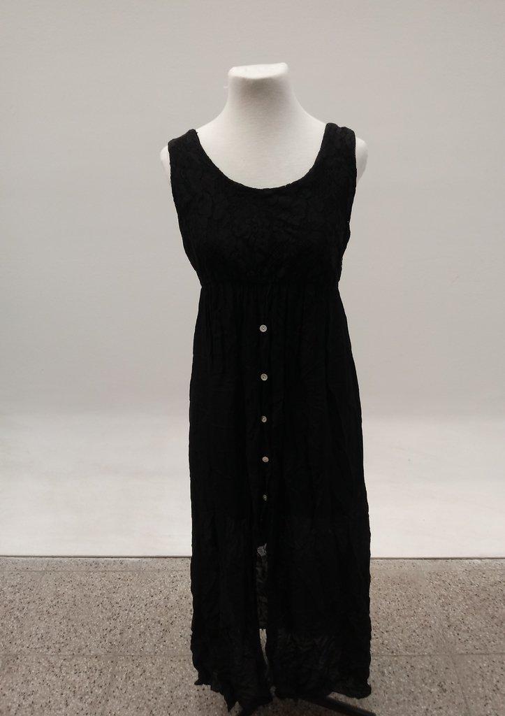 Vestido Largo Negro Encaje Mujer Usado