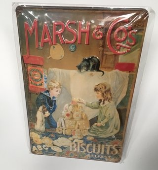 CARTEL DE CHAPA MARSH & CO BISCUITS BELFAST 20X30 IMPORTADO (NUEVO)