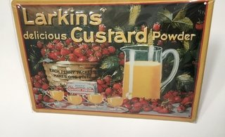 CARTEL DE CHAPA LARKINS CUSTARD POWDER 20X30 IMPORTADO (NUEVO)