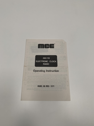 MANUAL RETRO MCE RADIO DESPERTADOR MCE-301 DIGITAL INGLÉS (USADO)