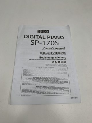 MANUAL DE USO PIANO DIGITAL KORG SP-170S NO ESTÁ EN ESPAÑOL (USADO)
