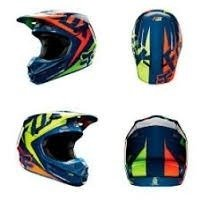 Casco Fox V1 Vandal Azul Negro Blanco Cross Atv Marelli - Marelli Sports