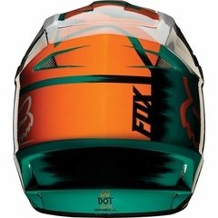Casco Fox V1 Vandal Verde Naranja Blanco Cross Atv Marelli - Marelli Sports