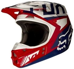 Casco De Cross Fox V1 Falcon Red Rojo Azul Blanco Marelli