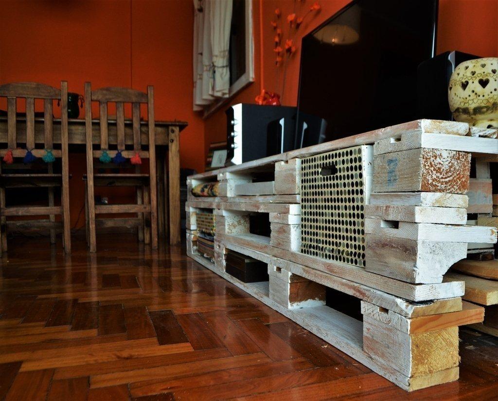 Mueble Para Tv Con Palets Stunning Excellent Interesting Mueble  # Muebles Con Tarimas Y Cajones