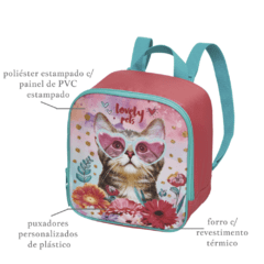 Imagem do Kit Escolar Mochilete Lancheira Estojo Lovely Pets Original 945B01 945B11 945B13