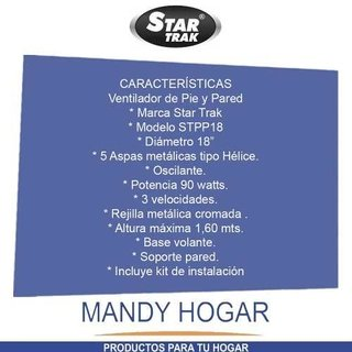 Ventilador Star Trak 18 Pie Y Pared 2 En 1 Mandy Hogar
