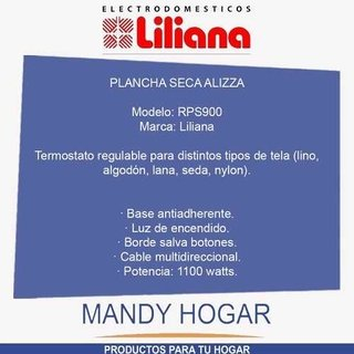 Plancha Seca Liliana Alizza 1100w Base Antiadh. Mandy Hogar en internet