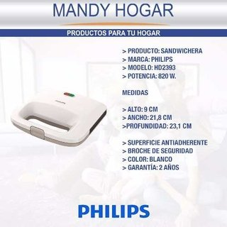 Sandwichera Philips Hd2393 Antiadherente 820 W Mandy Hogar en internet