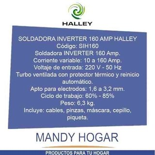 Soldadora Inverter Halley 160 Ampers Reales - Mandy Hogar - Mandy Hogar