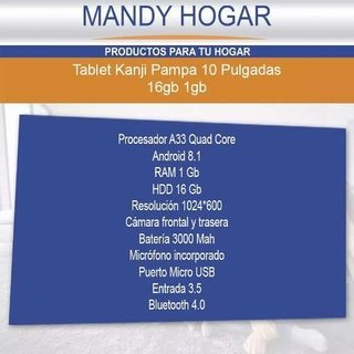 Tablet Kanji 10.1 Pampa Quad Core Hdd 16 Gb + Protector - Mandy Hogar