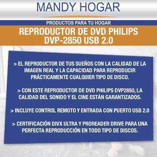 Dvd Philips Dvp2850 Usb 2.0 Divx Ultra Y Proreader Drive - Mandy Hogar