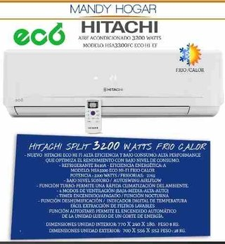 Aire Acondicionado Split Hitachi 3200 Watts Eco Frio Calor A en internet
