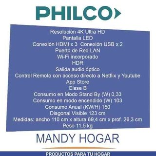 Tv Led Smart 49 Ultra Hd 4k Philco Pld49us7c Mandy Hogar en internet
