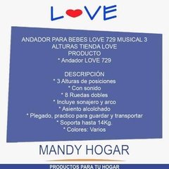 Andador Bebe Musical Regulable Love 729 Mandy Hogar - Mandy Hogar