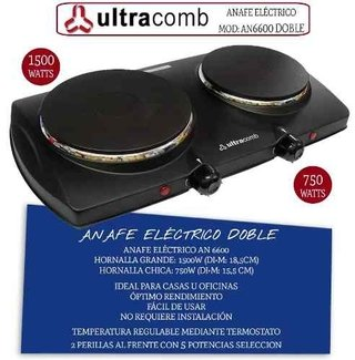 Anafe Eléctrico Ultracomb An-6600 Doble Hornalla 1500w 750w en internet