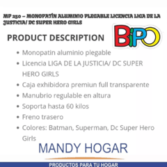 Monopatin Justice League 2 Ruedas Bipo Mandy Hogar - Mandy Hogar