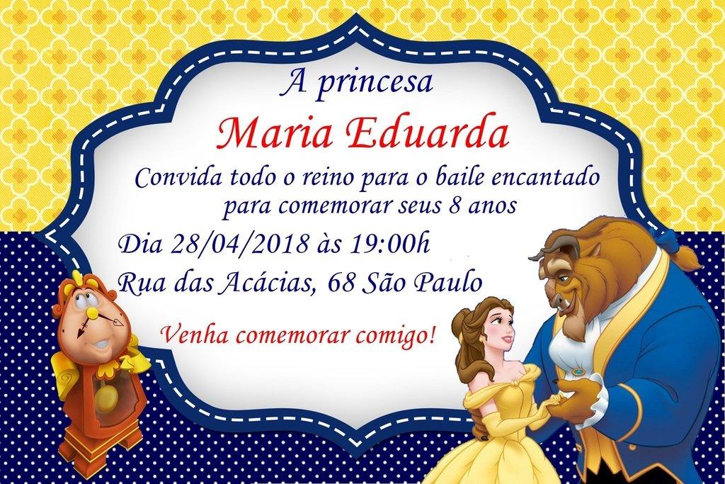 Convite Digital Bela E A Fera Cantinho Da Inha
