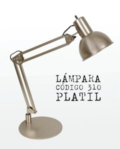 LÁMPARA DE ESCRITORIO EN METAL COLOR PLATIL MATE, 2 MOVIMIENTOS - CÓD. 310