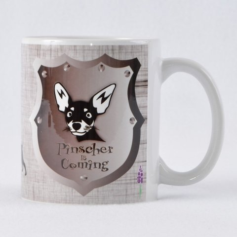 Caneca PINSCHER IS COMING Porcelana 325ml na internet