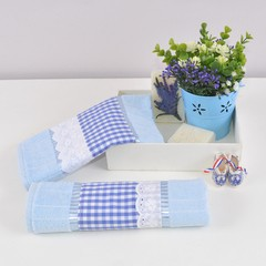 Kit 2 Toalhas Lavabo BLUE ROYAL Xadrez Azul