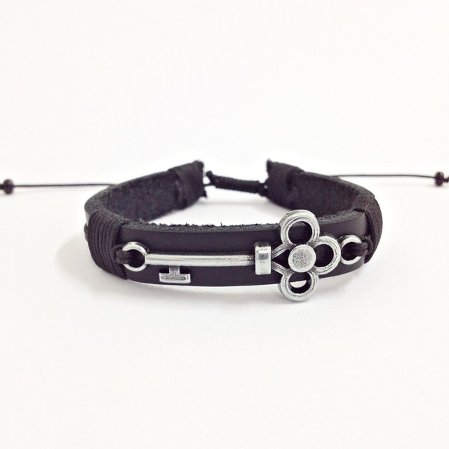 Kit 3 Pulseiras Masculinas Couro Olho Grego Onix Chave Key - Cocar Brasil