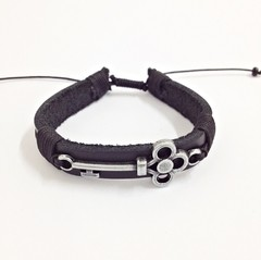 Kit 3 Pulseiras Masculinas Couro Olho Grego Onix Chave Key na internet