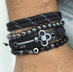Kit 4 Pulseiras Masculinas Couro Olho Grego Onix Chave Key