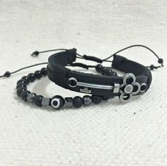 Kit 2 Pulseiras Masculinas Couro Pedra Onix Olho Grego Chave - Cocar Brasil