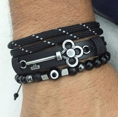 Kit 3 Pulseiras Masculinas Couro Olho Grego Onix Chave Key - comprar online