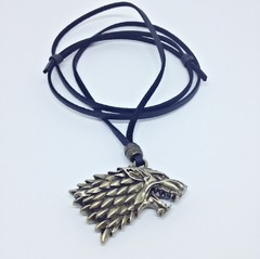 Colar Masculino Couro Lobo 3d Casa Stark Game Of Thrones na internet