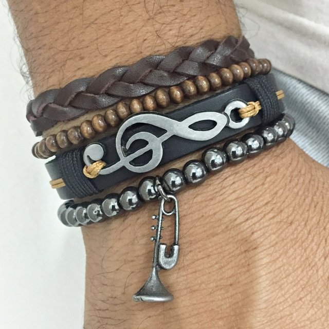 Kit 4 Pulseiras Masculinas Couro Clave Sol Trompete