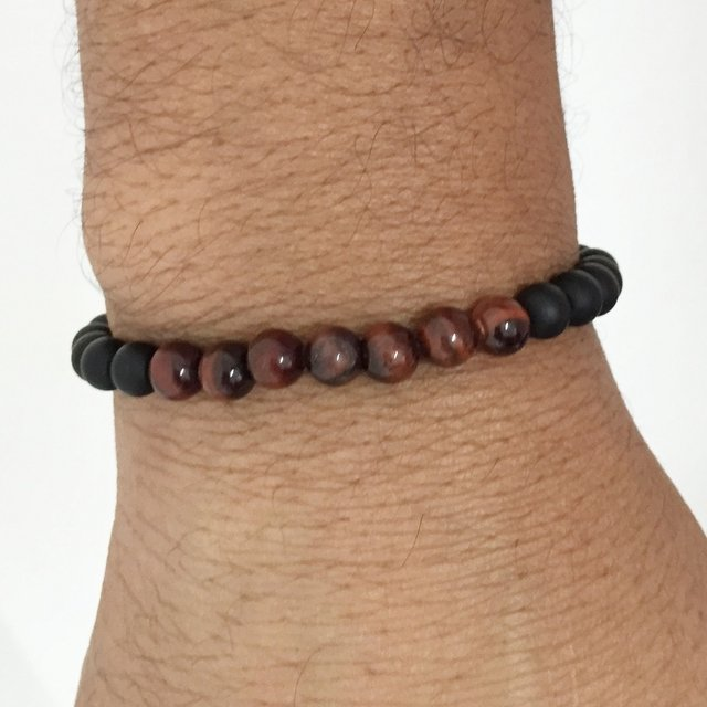 Pulseira masculina onix olho tigre red - comprar online