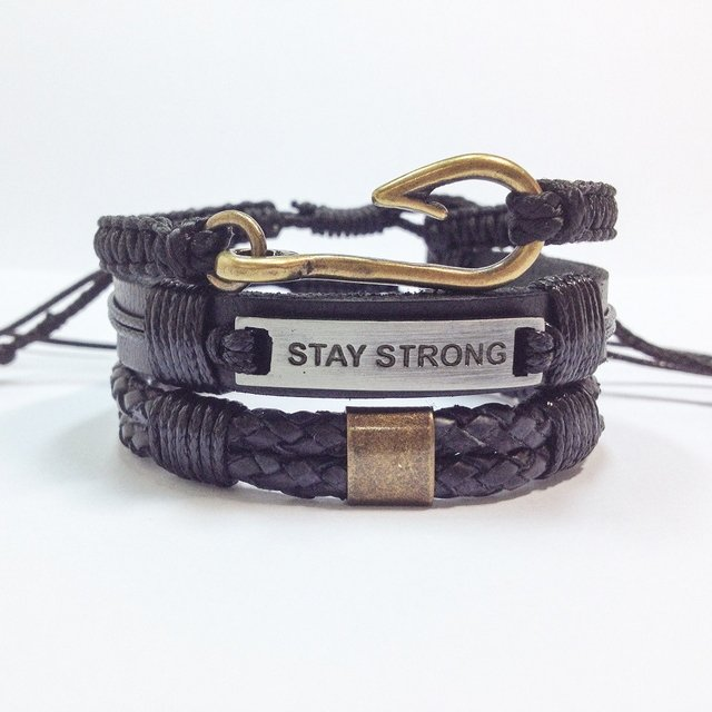 Kit 3 pulseiras masculinas anzol couro stay strong