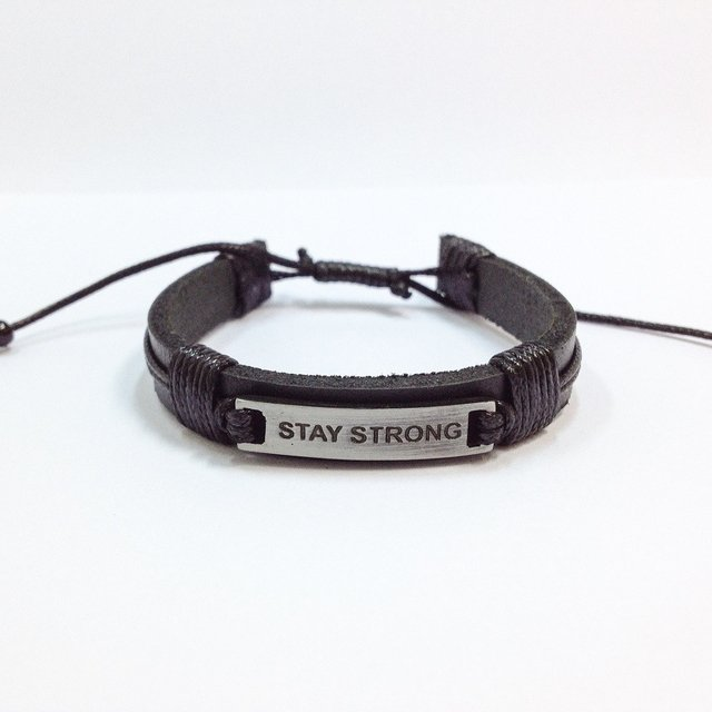 Kit 3 pulseiras masculinas anzol couro stay strong - Cocar Brasil