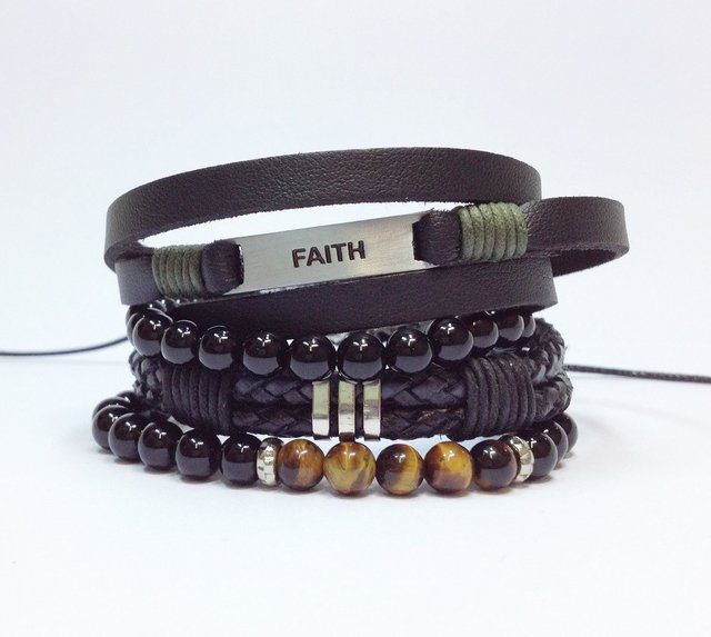 Kit 4 pulseiras masculinas Faith - Fé na internet
