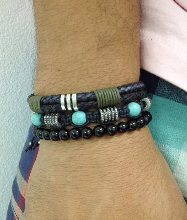 Kit 3 pulseiras masculinas couro ônix chave - loja online