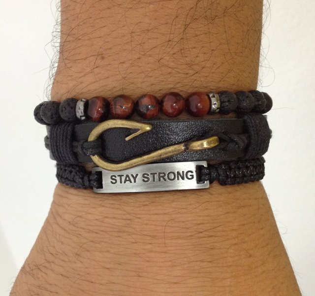 Kit 3 pulseiras masculinas couro Stay Strong anzol - comprar online