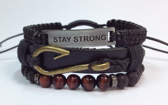 Kit 3 pulseiras masculinas couro Stay Strong anzol - loja online