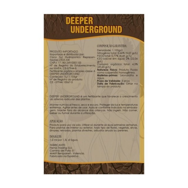 Fertilizante TOP CROP - DEEPER UNDERGROUND - 250ML na internet