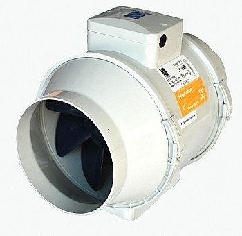 Exaustor axial in line Multivac Turbo 100mm - 4 pol - 109mm - 187 m3/h - Pressão 135 PA - 220v