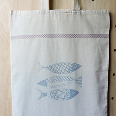 Tote Bag Natural Peces - Patch-In by Gaby Caporale