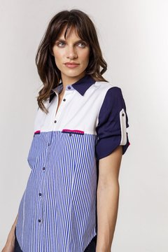 Camisa CATANIA Azul y Fucsia - LeTIEND |  by GIACCA