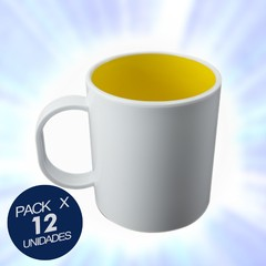 Taza blanca color interior amarillo Polymer