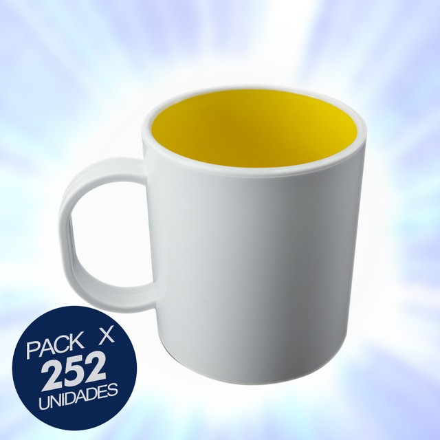 Taza blanca color interior amarillo Polymer en internet