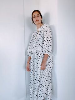 Vestido Salvia -Dots off white