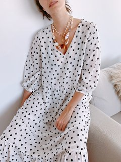 Vestido Salvia -Dots off white en internet