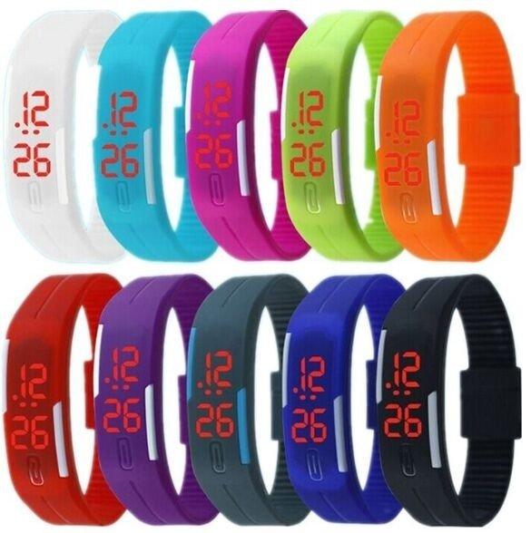 LED Reloj Digital Rojo Fecha de goma pulsera New Desing